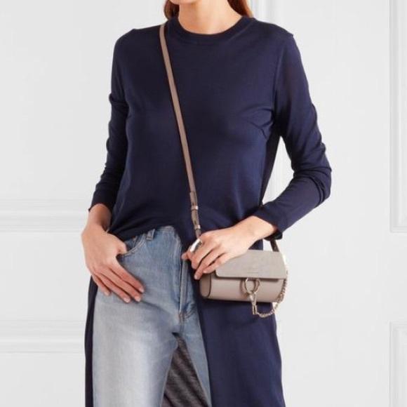 d75660e3b7dc Chloe Handbags - Chloe Faye Leather Wallet on a Strap Motty Grey